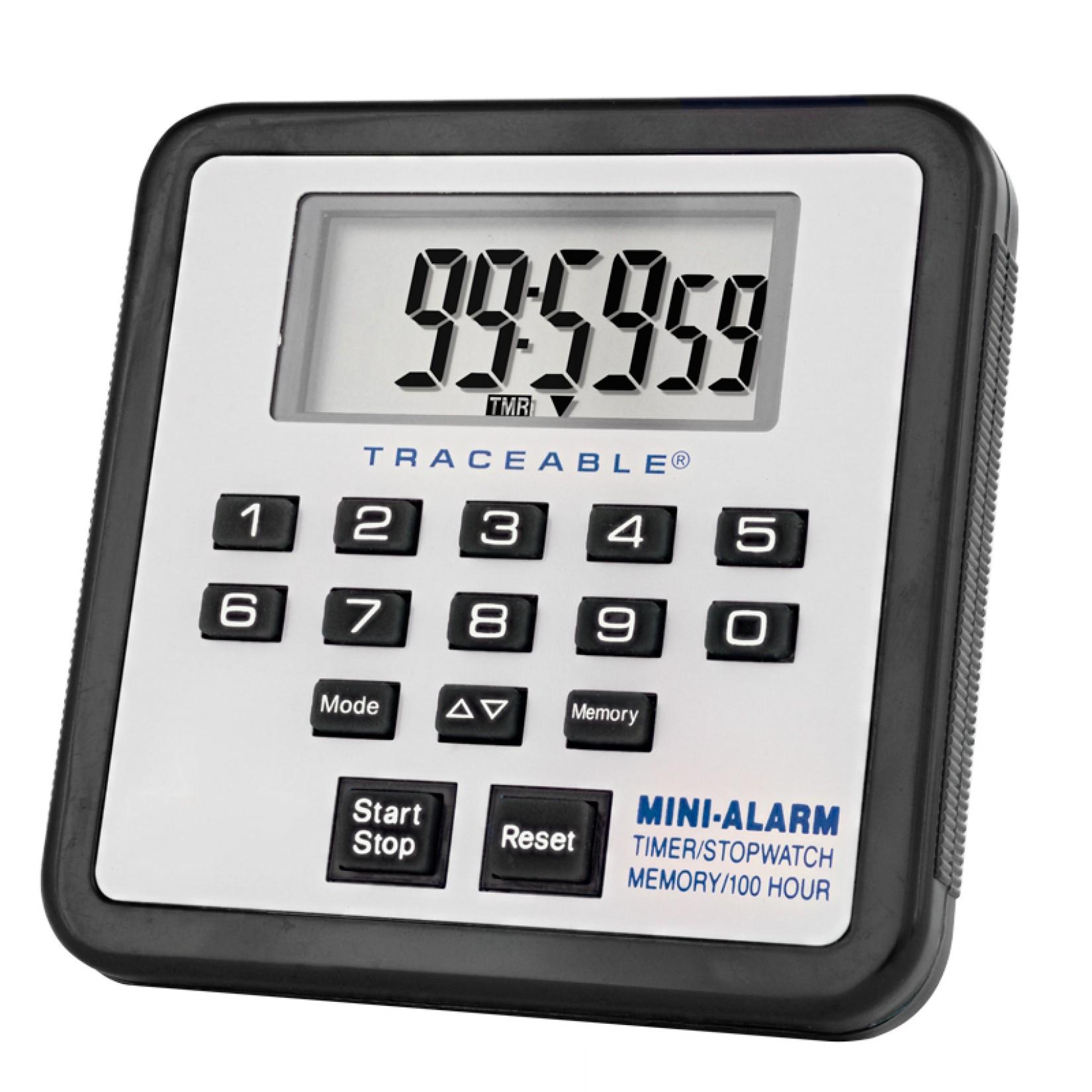 Timer de 100 horas con mini alarma y cronómetro Certificado