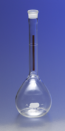Matraz volumétrico, Clase «A». Línea roja. Tapón de vidrio