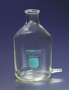 Botella aspiradora PYREXPLUS® con revestimiento protector y salida para tubos