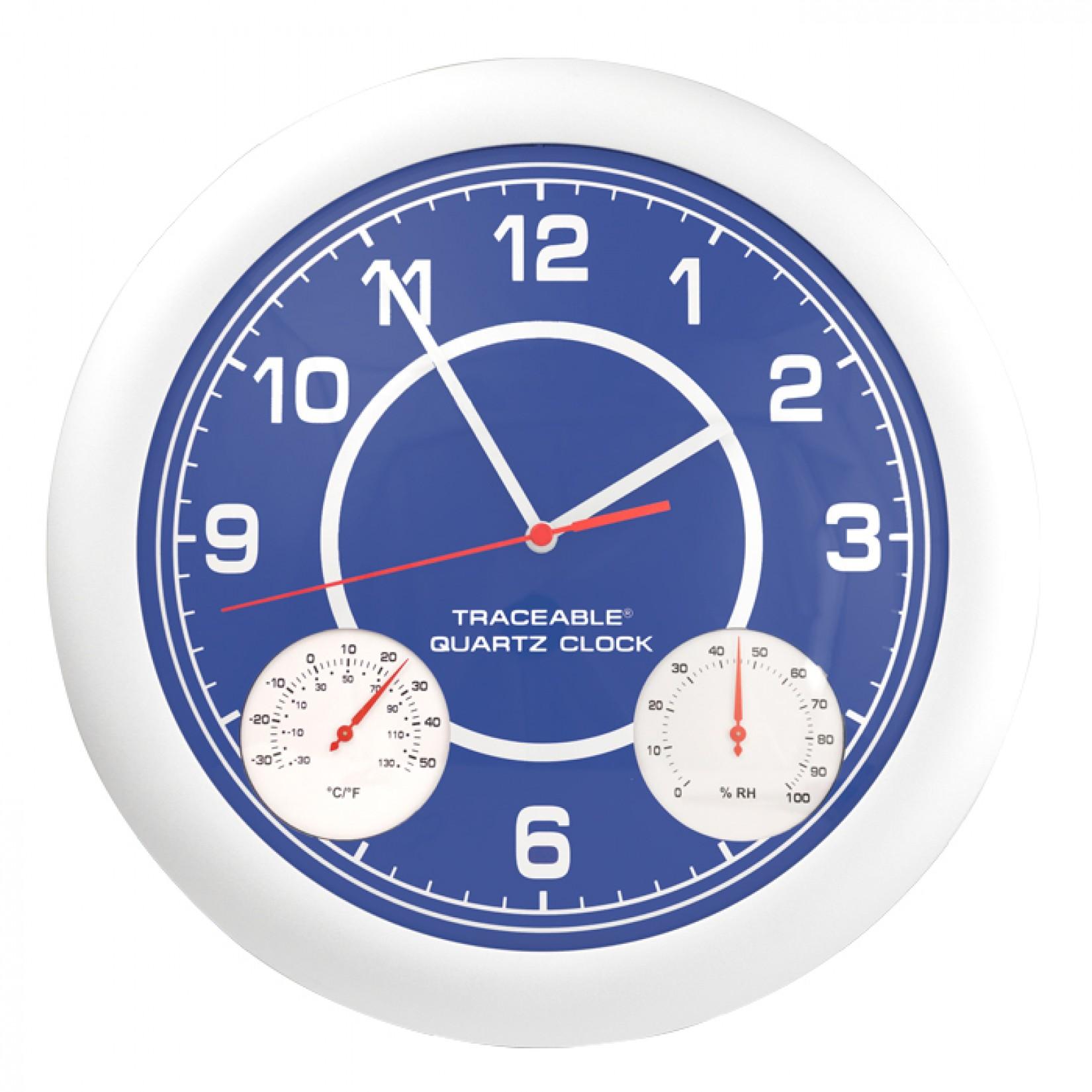 Reloj de pared con medición de temperatura y humedad Certificado