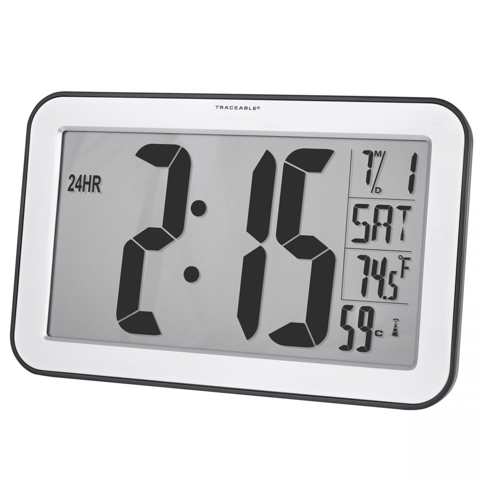 Reloj de pared con dígitos tamaño Jumbo y control de radio Certificado