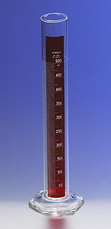 Probeta graduada con línea roja, Escala métrica simple, TC