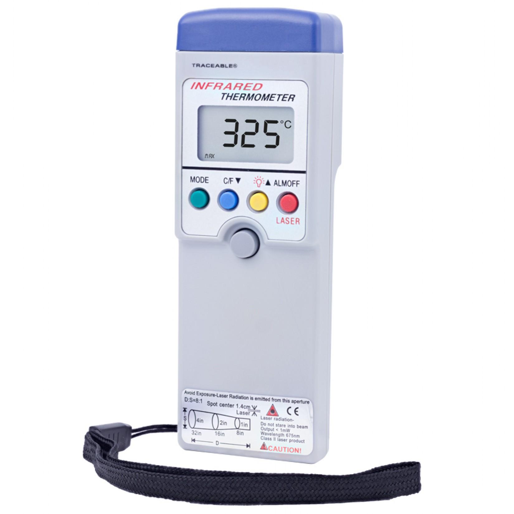 Termómetro infrarojo con memoria y alarma Certificado