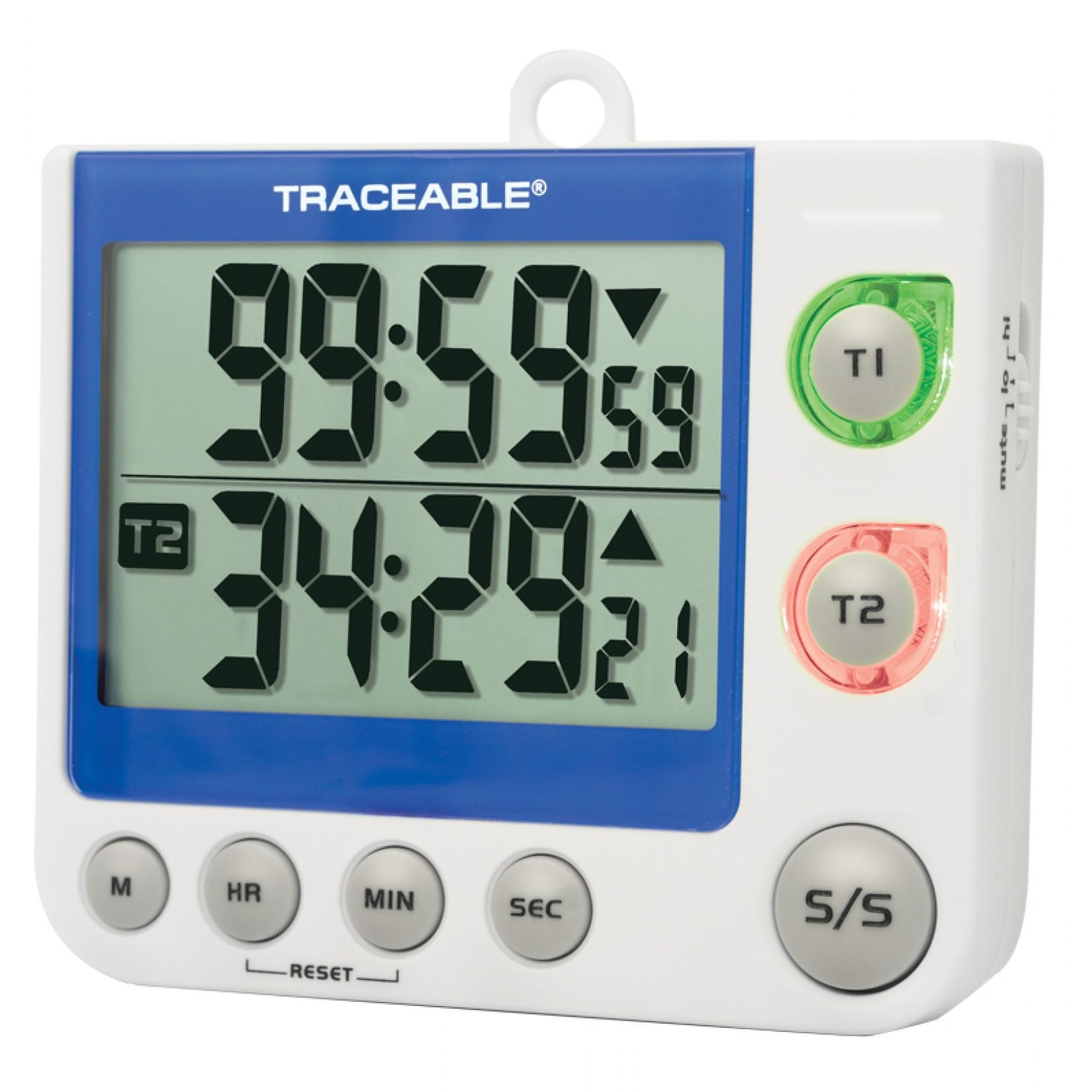Timer con dígitos grandes y alarma visual de LED Certificado