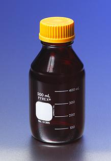 Botella graduada de bajo actinico para medios o almacenamiento, Con tapa de rosca