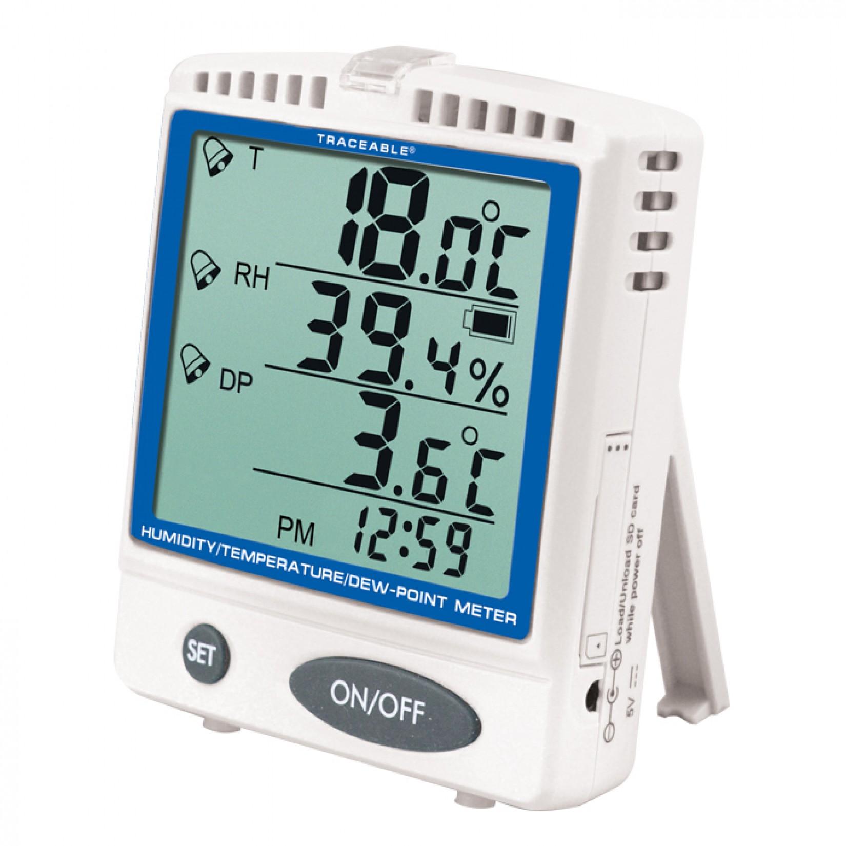Medidor de humedad, temperatura y punto de rocío con memoria extraíble Certificado